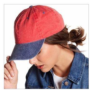 Red & Blue Color Block Baseball Cap